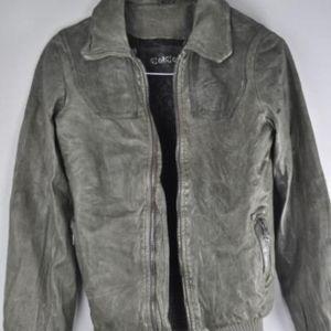 Giorgio Brato Gray/Green Leather Jacket